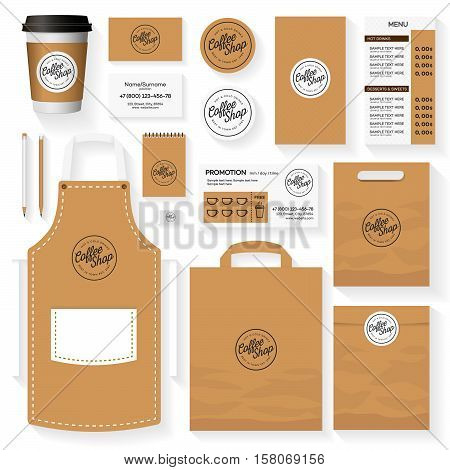 Coffee shop corporate identity template design set with coffee shop logo. Restaurant cafe set card flyer menu package uniform design set. Stock vector