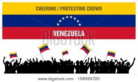 Venezuela silhouette of cheering or protesting crowd of people with Venezuelan flags and banners isolated