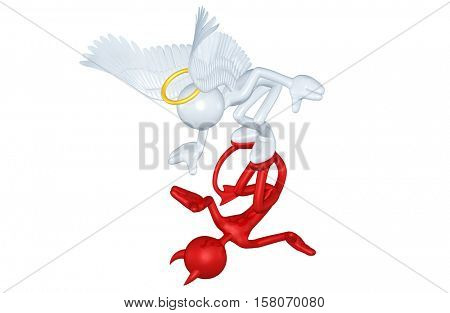 Angel And Devil Character Reflection 3D Illustration