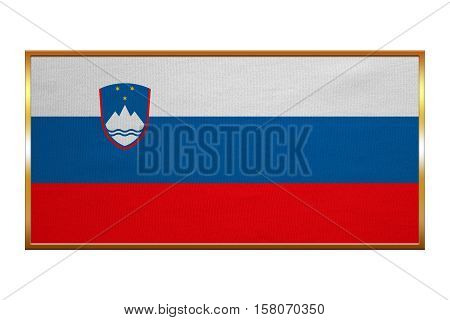 Slovenian national official flag. Patriotic symbol banner element background. Correct colors. Flag of Slovenia golden frame fabric texture illustration. Accurate size colors