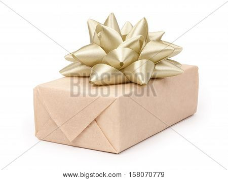 Gift Box With Present Wrapped In Kraft Paper And With Golden Light Beige Bow Isolated On The White B