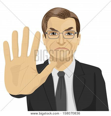 angry mature businessman with glasses showing stop gesture over white background