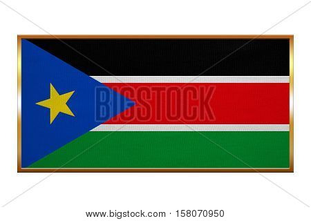 South Sudanese national official flag. African patriotic symbol banner element background. Correct colors. Flag of South Sudan golden frame fabric texture illustration. Accurate size colors