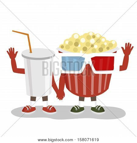 cinema pop corn with 3d glasses and cola character friends holding hands together and waving over white background