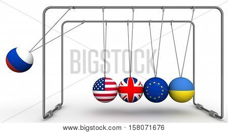 The Russian Federation as a factor in the dynamics of geopolitics. Newton's Cradle with the image of the Russia flag USA Great Britain the European Union and Ukraine. 3D Illustration. Isolated