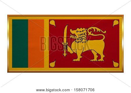 Sri Lankan national official flag. Patriotic symbol banner element background. Correct colors. Flag of Sri Lanka golden frame fabric texture illustration. Accurate size colors