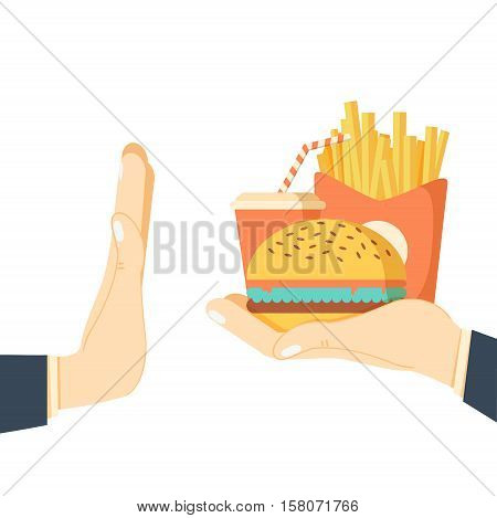 Rejecting the offered junk food. Gesture hand NO rejecting fast food. Offer fries and a hamburger in hand. Stop fat, calorie, unhealthy snack. Vector illustration flat design. Isolated on background