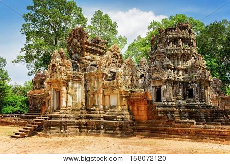 Side View Of Entrance To Thommanon Temple In Angkor, Cambodia