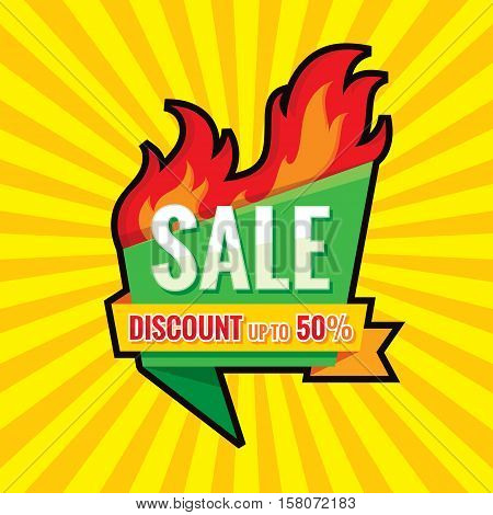 Hot sale - vector banner template concept illustration. Discount up to 50% - creative layout with origami badge and red fire flame. Design element.