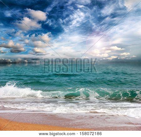 coastal line the sandy beach of the Mediterranean Sea