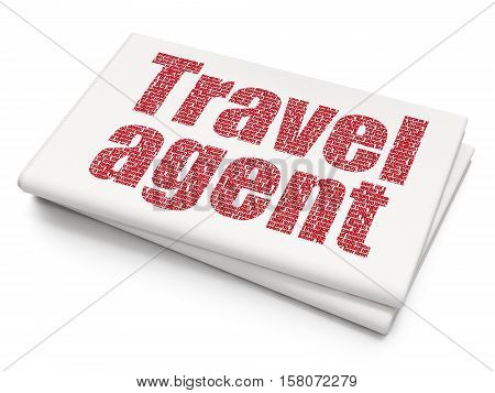 Vacation concept: Pixelated red text Travel Agent on Blank Newspaper background, 3D rendering