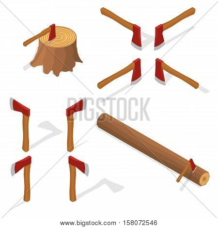 The isometric axe. Hack logs. The hatchet in the stump. Icon vector illustration.