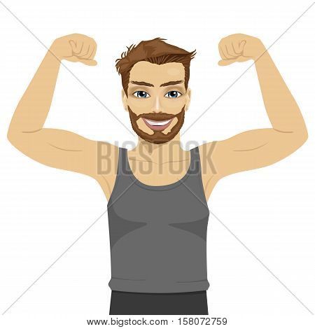 Young man showing his muscles. Fit fitness strenght health hobby concept over white background
