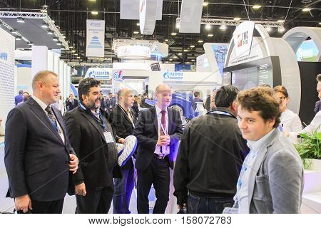 St. Petersburg, Russia - 5 October, Group of business people at the gas forum, 5 October, 2016. Petersburg Gas Forum which takes place in Expoforum.