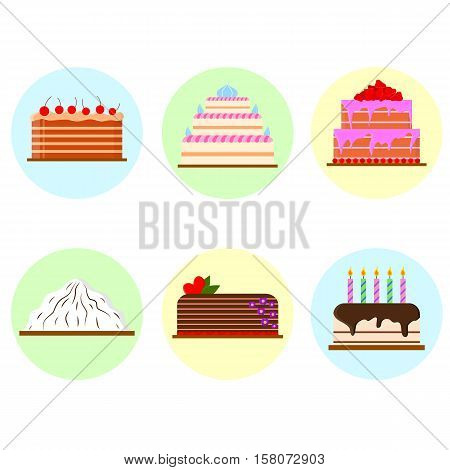 Set of cakes in flat style. Delicious fresh pastries. Icon for cafes, pastry shops, wedding salon. Vector illustration.