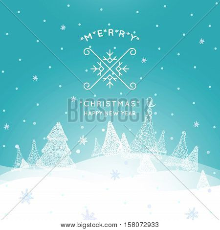 Merry Christmas Landscape, Christmas greeting card with winter background. Merry Christmas holidays wish design.Happy new year message. Vector illustration