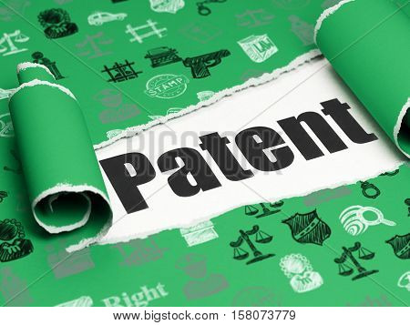 Law concept: black text Patent under the curled piece of Green torn paper with  Hand Drawn Law Icons, 3D rendering