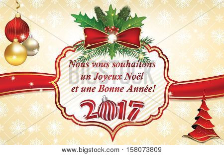 French business Greeting card for winter holiday 2017. We wish you Merry Christmas and a Happy New Year (French text: Nous vous souhaitons  Joyeux Noel et une Bonne Annee). Print colors used