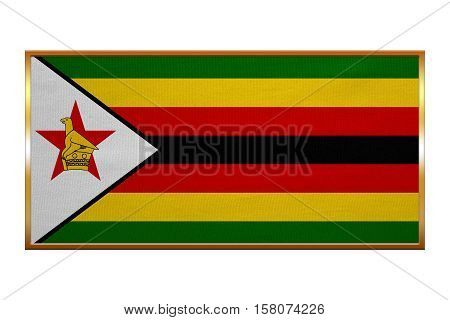 Zimbabwean national official flag. African patriotic symbol banner element background. Correct colors. Flag of Zimbabwe golden frame fabric texture illustration. Accurate size colors