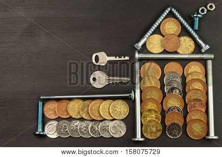 Money to build a house. Valid Czech coins.