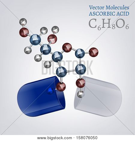 Ascorbic acid molecule, structural chemical volumetric formula in the open capsule. 3d vector illustration isolated on a white background. Chemistry and Biotechnology concept.