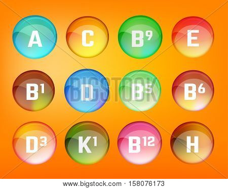 Vitamin complex. Different vitamins in pillls. Vector illustration in bright rainbow colours. Medical and pharmaceutical image.