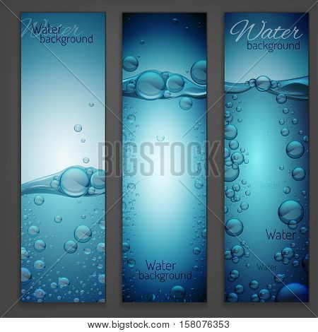 Transparent water wave image with bubbles. Vector illustration in light blue colours. Purity and freshness concept. Website abstract water background banner set.