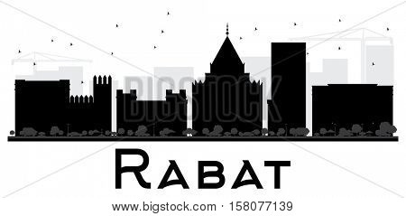 Rabat City skyline black and white silhouette. Simple flat concept for tourism presentation, banner, placard or web site. Business travel concept. Cityscape with landmarks