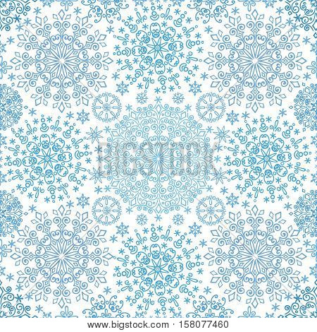 Snowflakes  lace seamless pattern.Christmas, New year winter symmetry ornament, wrap, wallpaper.Cyan  Vector.Christmas, winter illustration.Holiday background