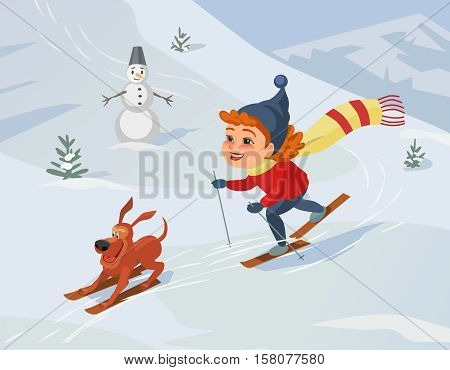 Winter outdoors concept. Cartoon fancy retro style poster. Skiing girl and dog on snowy hill. Cute happy child and pet on ski enjoy active lifestyle sport. Season holiday leisure banner background.