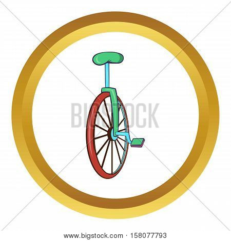 Unicycle or one wheel bicycle vector icon in golden circle, cartoon style isolated on white background