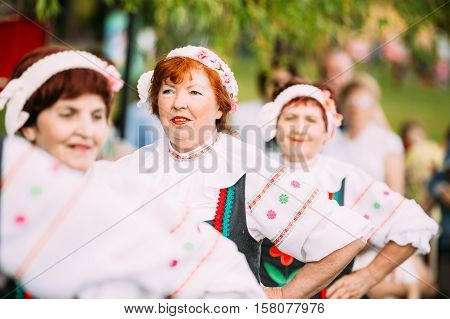 Gomel, Belarus - May 9, 2016: Close View Of Elderly Women In Belarussian National Costumes, The Cast Of Vocal And Choral Ensemble On Celebrating Victory Day 9 May.