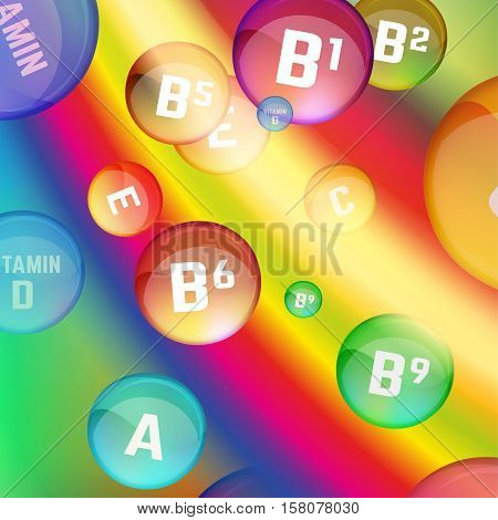 Vitamin complex image on a bright background. Vector illustration in rainbow colours with glossy pills. Medical and pharmaceutical concept. Packaging and promotional idea.