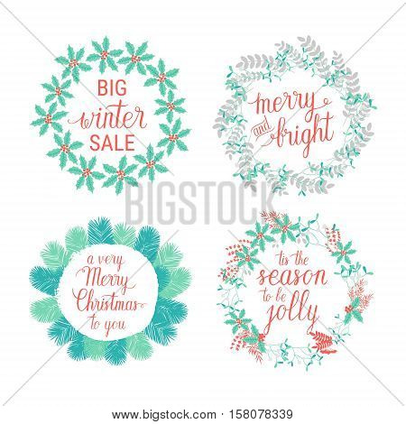 Merry and Bright Happy Holidays Happy New Year Tis the season to be Jolly greeting cards set. Vector winter holidays wreaths with hand lettering calligraphic tree branches. Christmas backgrounds.