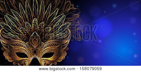 Vector Illustration. Golden carnival mask with feathers. Beautiful background for greeting card, party invitation, banner or flyer.