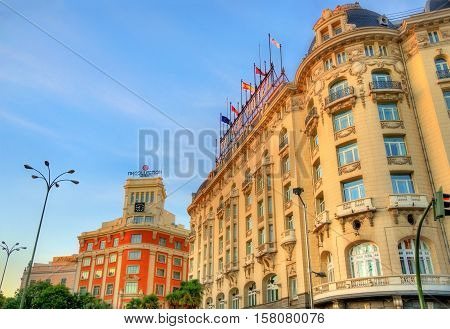 Madrid, Spain - October 7, 2016: The Westin Palace Hotel on Plaza de Canovas del Castillo. The luxury hotel was built in 1912
