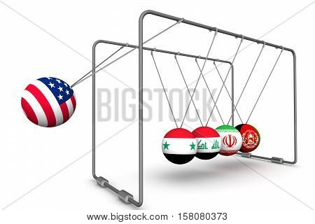 The United States as a destabilizing factor in geopolitics.  The concept. Newton's Cradle with the image of the United States of America flag Syria Iran Iraq and Afghanistan. 3D Illustration. Isolated