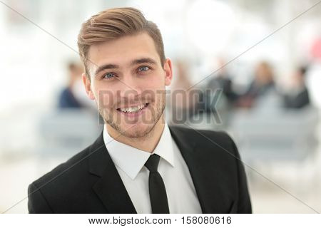 Portrait of happy smiling  business man.