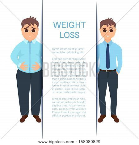 Man before and after weight loss. Design template. Perfect body symbol. Successful diet, fitness and weight loss concept. Perfect for fitness gyms, health and sport magazines. Vector illustration.