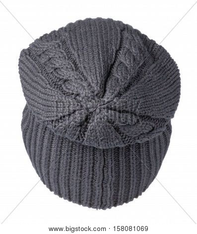 Hat Isolated On White Background .knitted Hat .dark Blue Hat .hat Rear View