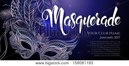 Vector Illustration. Silver carnival mask with feathers. Beautiful concept design with hand drawn lettering