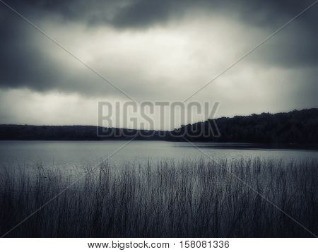 An image of a beautiful lake with fog in usa