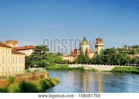 View Of Church Of San Giorgio In Braida From Adige River. Verona