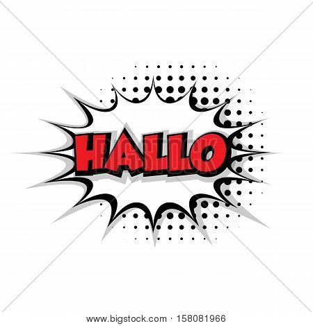 Lettering hallo Comic text sound effects pop art style vector. Sound bubble speech phrase comic text cartoon balloon expression sounds illustration. Comic text background template. Comics book balloon