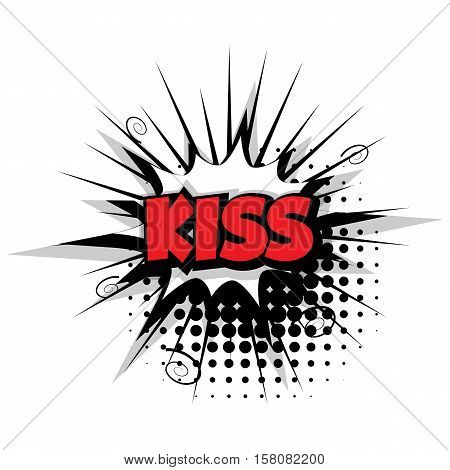 Lettering kiss. Comic text sound effects pop art style vector. Sound bubble speech phrase comic text cartoon balloon expression sounds illustration. Comic text background template. Comics book balloon
