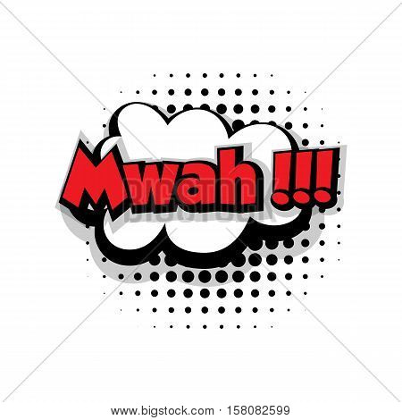 Lettering mwah. Comic text sound effects pop art style vector. Sound bubble speech phrase comic text cartoon balloon expression sounds illustration. Comic text background template. Comics book balloon