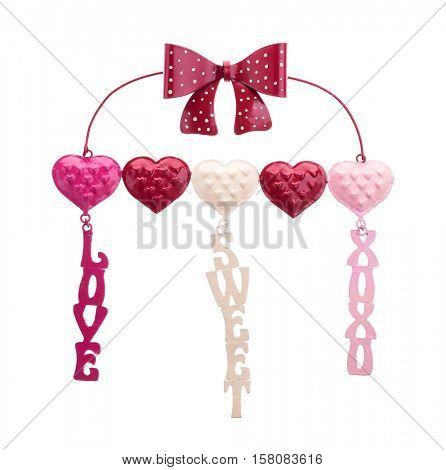 love, xoxo, sweet metal sign isolated