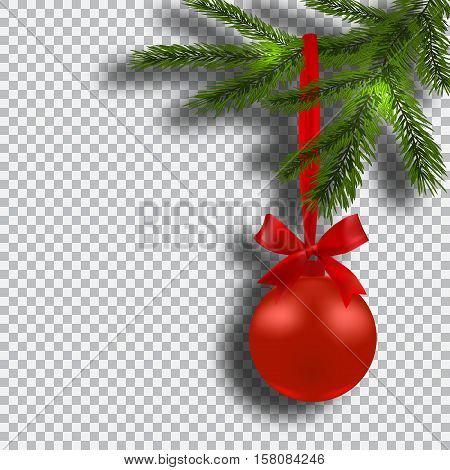 Christmas card. Green branches of a Christmas tree with red balls and ribbon on background checker. Christmas decorations. Vector illustration