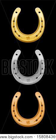 Horseshoes - gold, silver, bronze - for first, second and third place.