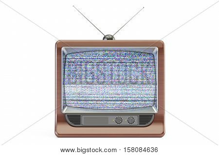 Old TV set screen with static noise bad signal reception. 3D rendering isolated on white background